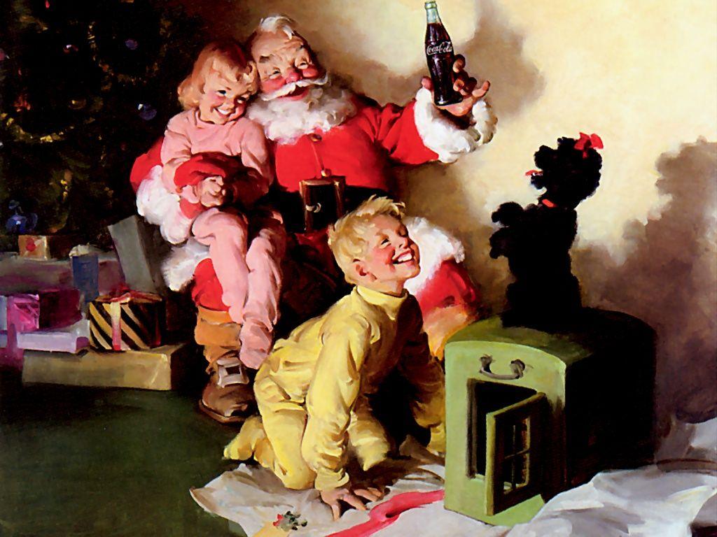 Santa Claus într-o reclamă la Coca-Cola