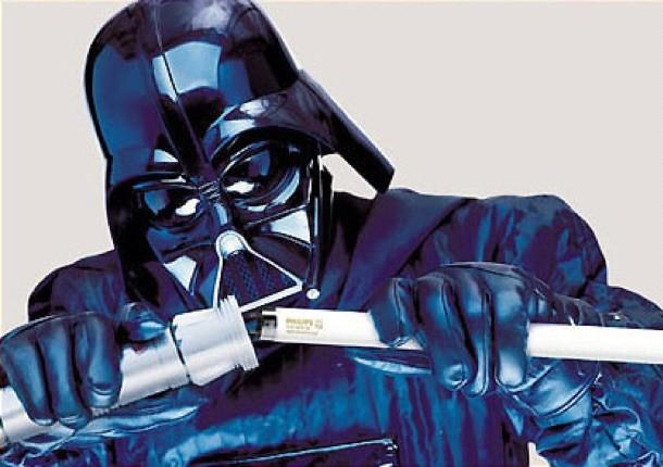Darth Vader schimbând neonul